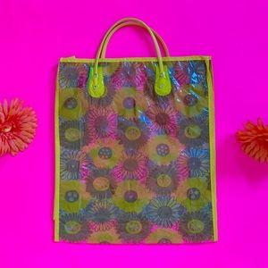 Vintage Bags - Vintage 60s clear vinyl flower power bag NOS